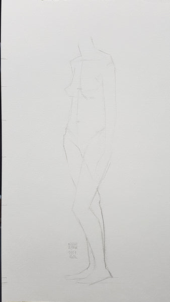 life model drawing short pose female standing Center line