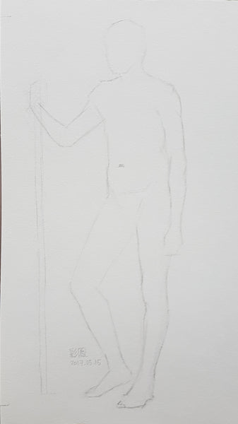 life drawing short pose standing male figure