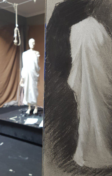 drapery white fabric value study