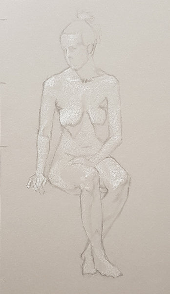 saturday open drawing woman sitting short pose charcoal and white chalk