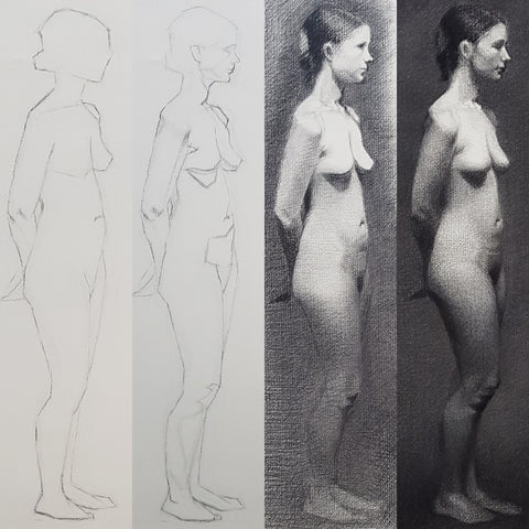 Life Model Drawing Steps