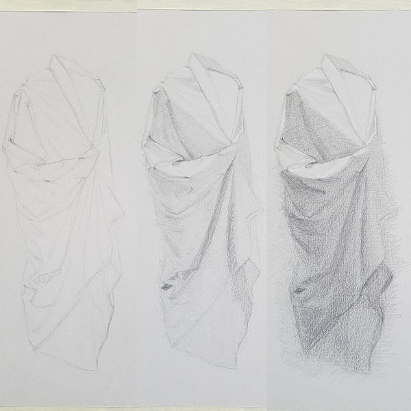 drapery studies week03 graphite on toned paper and white chalk