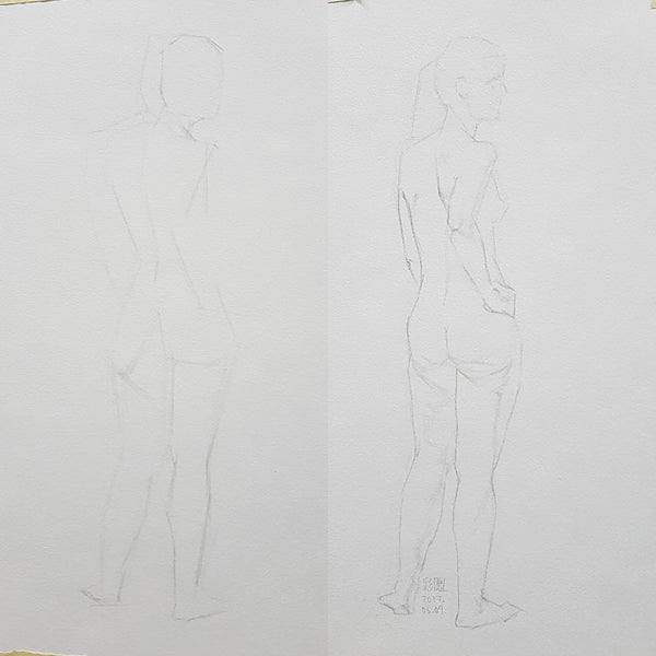 life drawing standing back pose 2 steps
