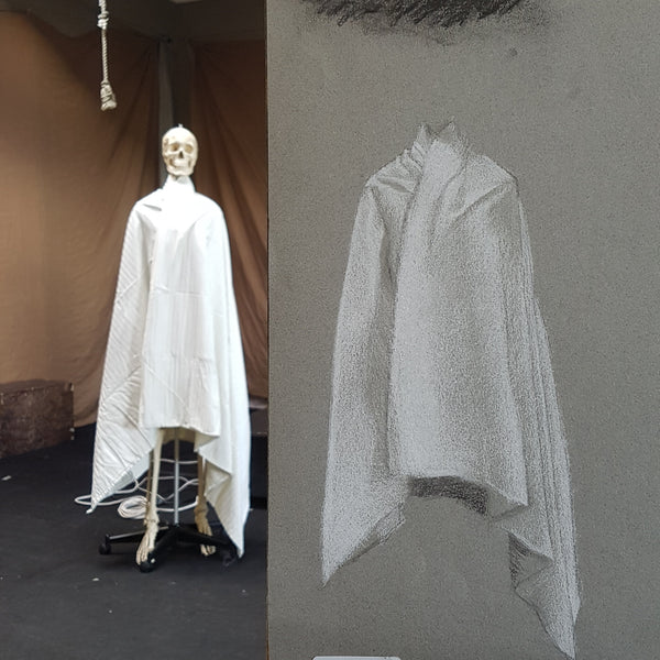 drapery white heavy fabric cape style