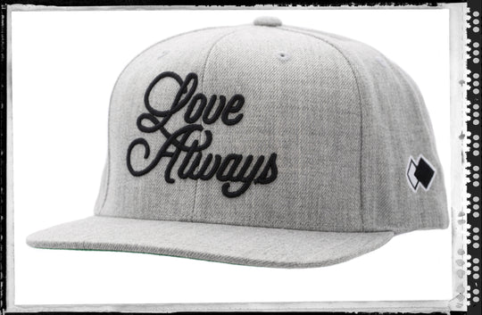LOVE ALWAYS_ Grey Snapback Cap