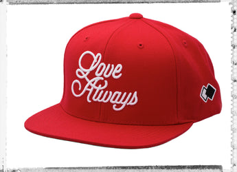 LOVE ALWAYS_ Red Snapback Cap