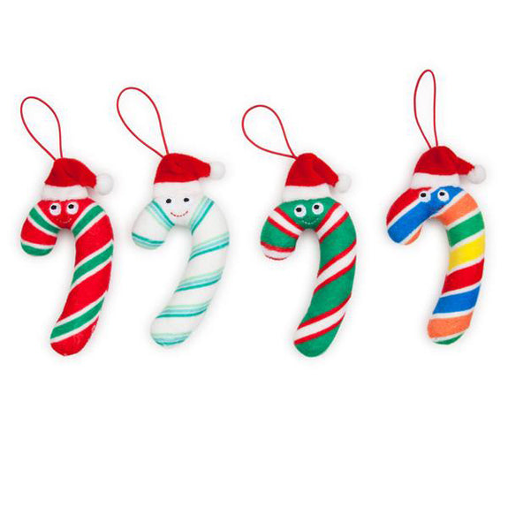 Yummy World Candy Cane Plush Ornaments 4-Pack