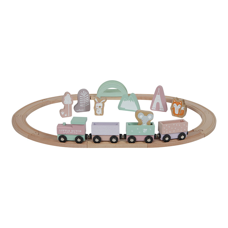 Little Dutch Wooden Train Railway Track - Pink