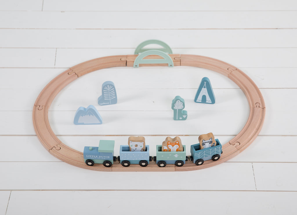 Little Dutch Wooden Train Railway Track - Blue