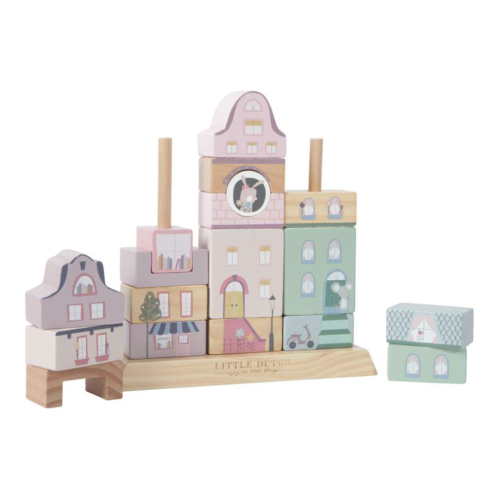 Little Dutch Wooden Facade Building Blocks - Pink