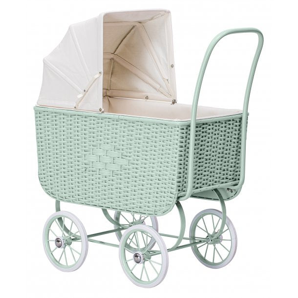 Doll Pram - Retro Rattan Green