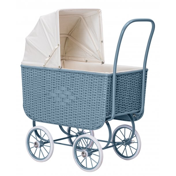 Doll Pram - Retro Rattan Blue