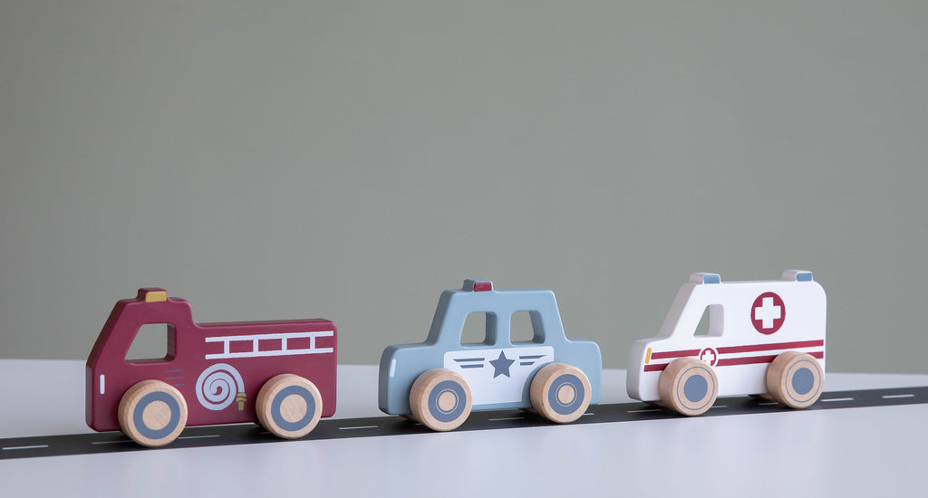 Little Dutch wooden toy cars 3-pack emergency services vehicles