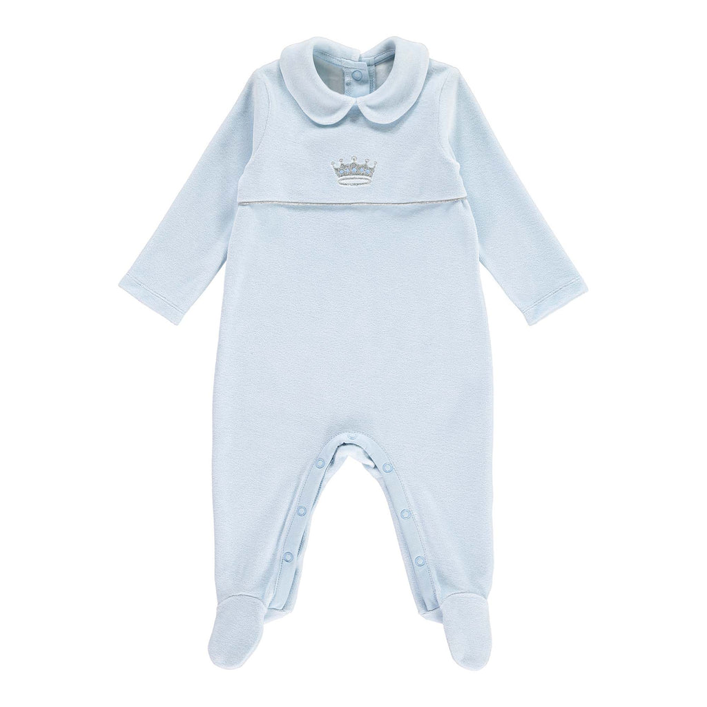Rachel Riley Prince Embroidered Velour Babygrow - Blue