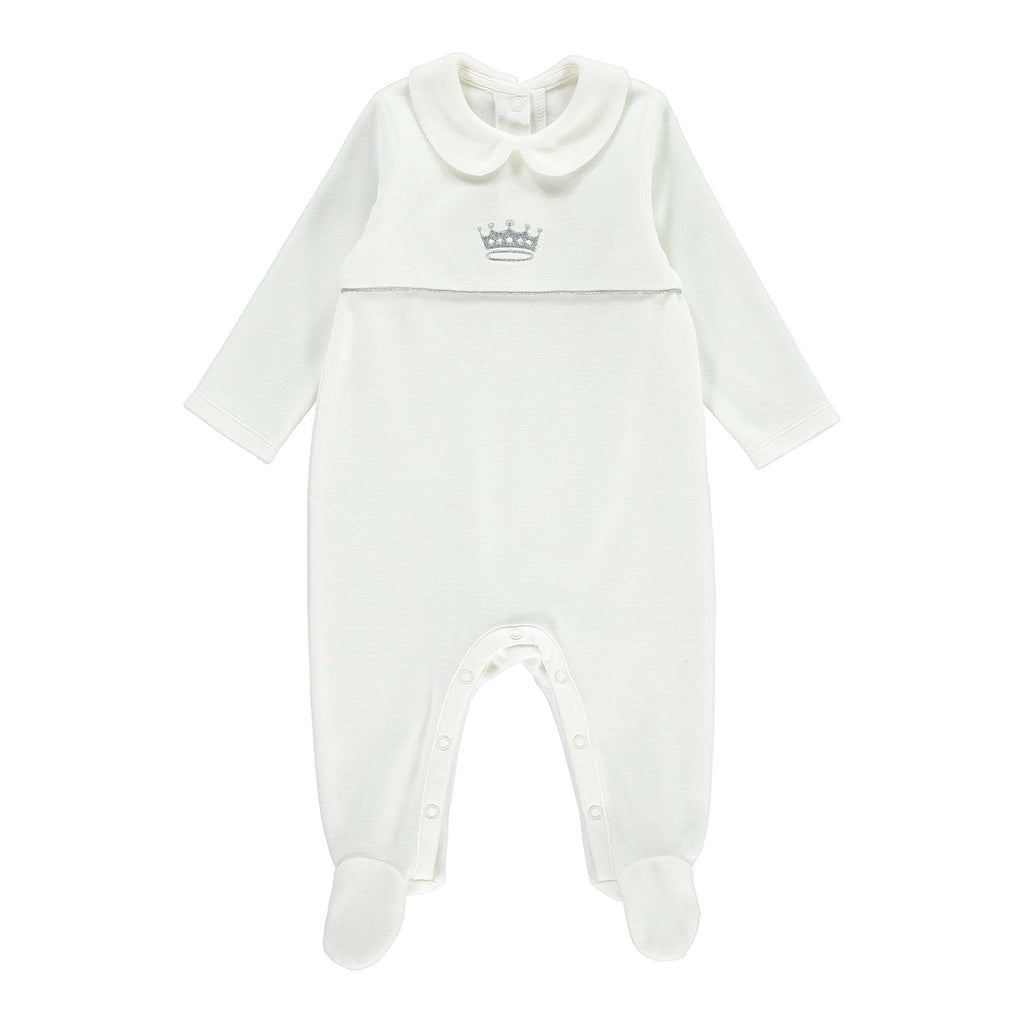 Rachel Riley My Little One Embroidered Velour Babygrow - Ivory