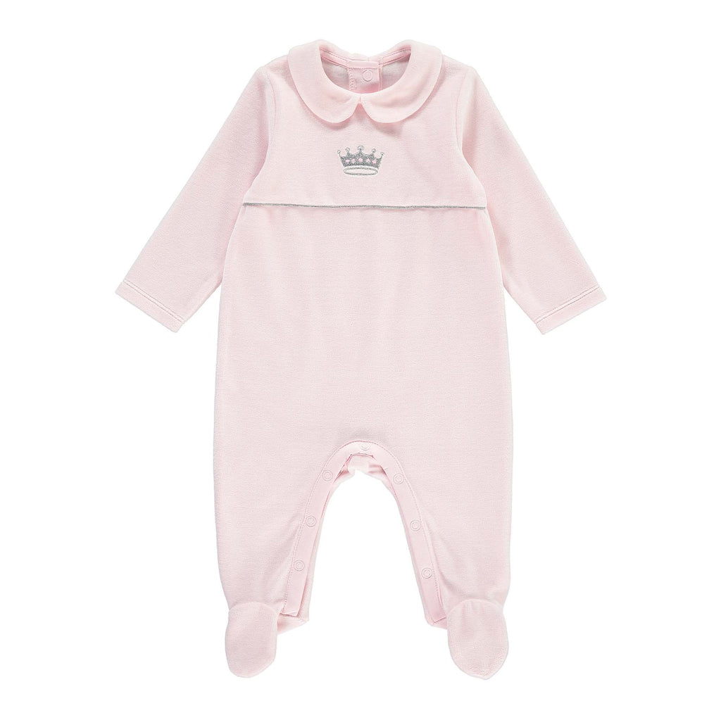 Rachel Riley Princess Embroidered Velour Babygrow - Pink