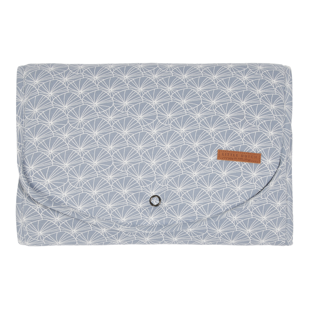Little Dutch Organic Comfort Changing Pad - Lily Leaves Blue Print