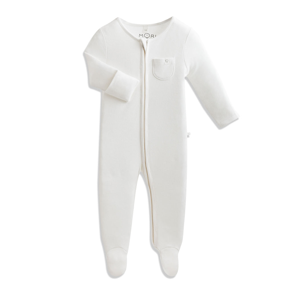 MORI Baby Zip-Up Sleepsuit - White 3-6 months
