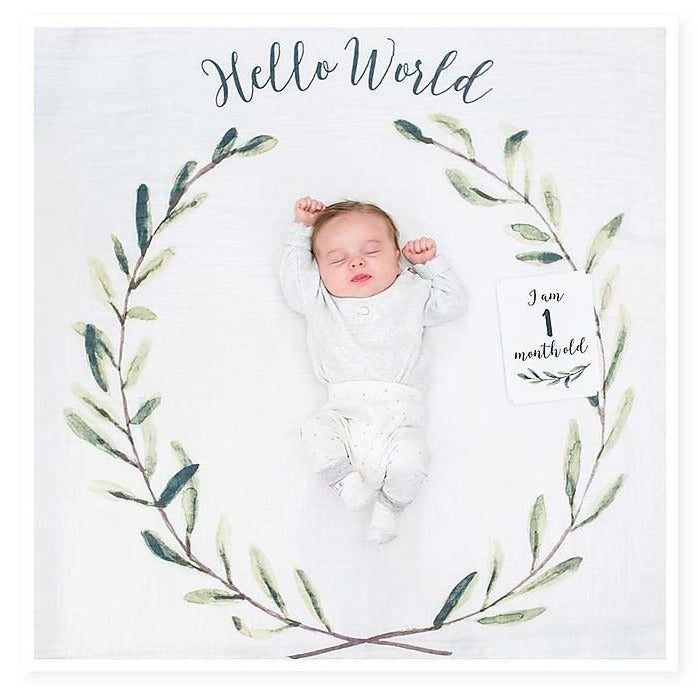Lulujo 'Hello World' First Year Kit - Swaddle Cover in Cotton Muslin + 14 Cards