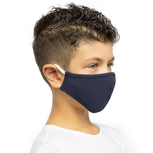 Organic, triple layered face mask (4-6 years) - navy blue
