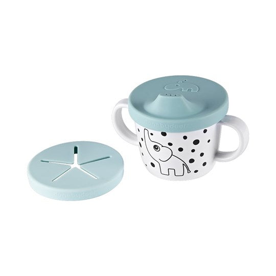 Done by Deer 2-in-1 silicone drinking spout & snack cup - powder blue