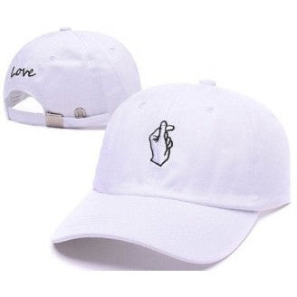 White Love Hand Sign Cap - Haberfasher