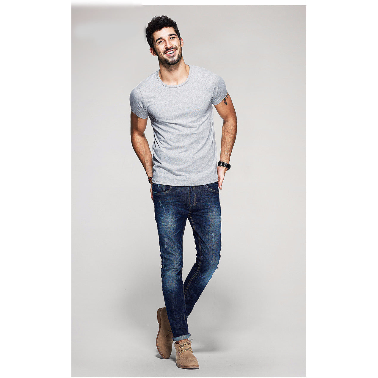 Stone Gray Basic Slim Fit Crew Neck T-Shirt - Haberfasher
