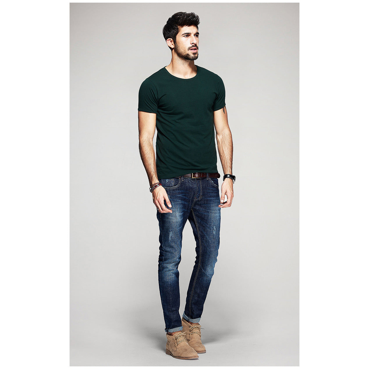 Green Basic Slim Fit Crew Neck T-Shirt - Haberfasher