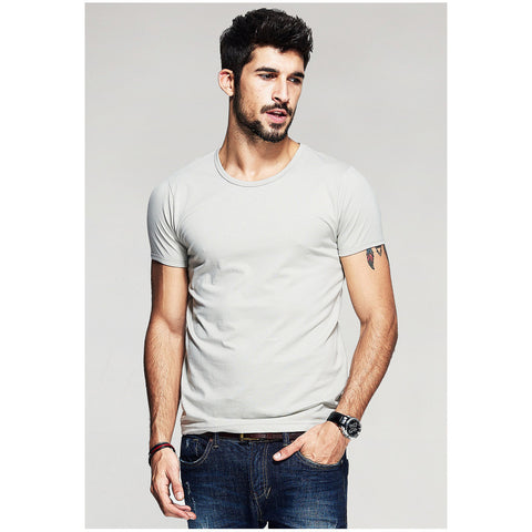 Light Gray Basic Slim Fit Crew Neck T-Shirt - Haberfasher