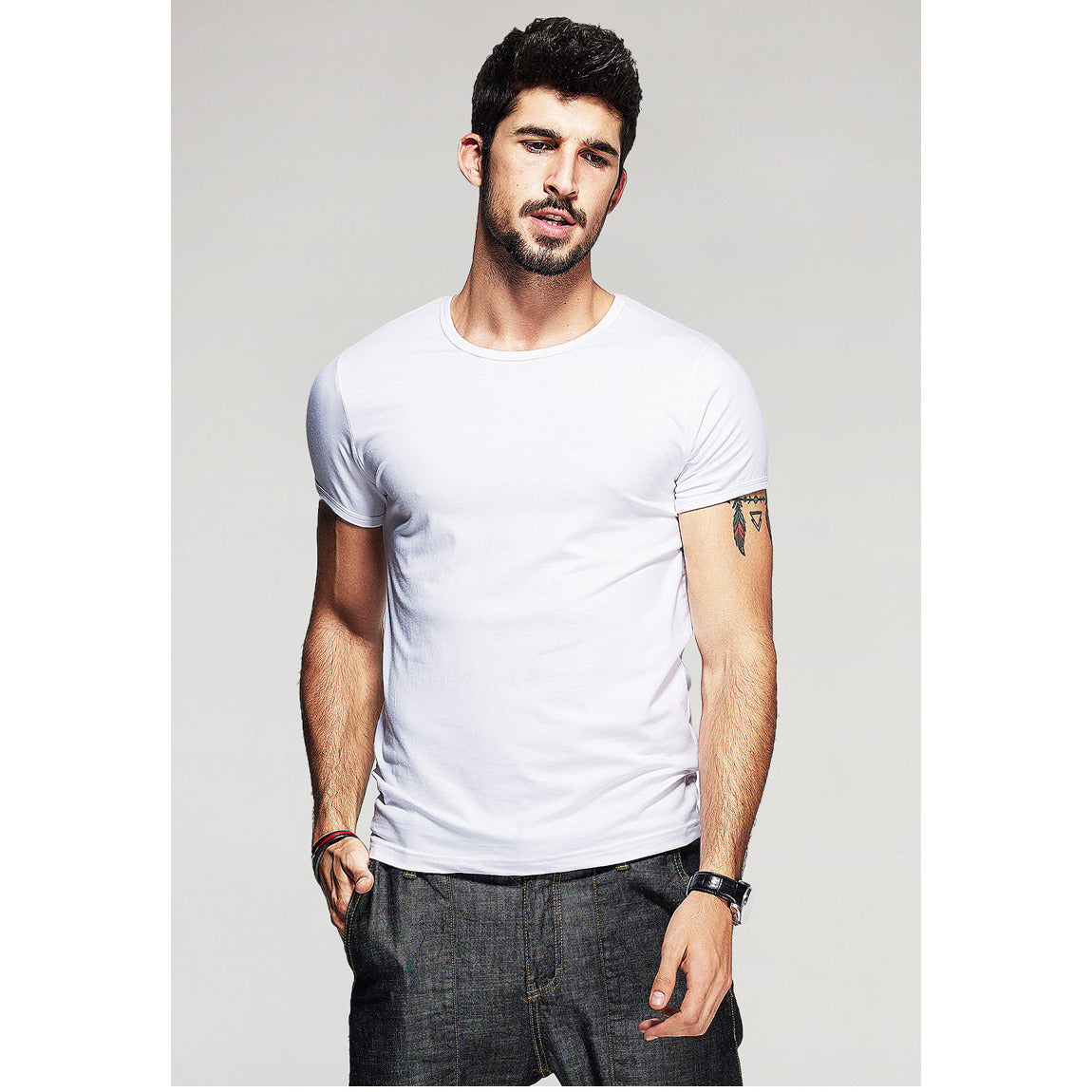 White Basic Slim Fit Crew Neck T-Shirt - Haberfasher