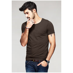 Brown Basic Slim Fit Crew Neck T-Shirt - Haberfasher