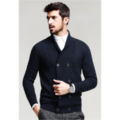 Brandon Blue Double Button Knit Cardigan - Haberfasher