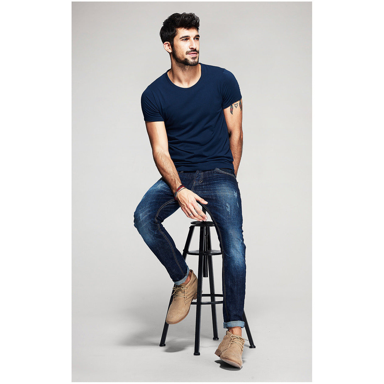 Blue Basic Slim Fit Crew Neck T-Shirt - Haberfasher