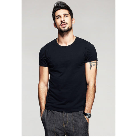 Black Basic Slim Fit Crew Neck T-Shirt - Haberfasher