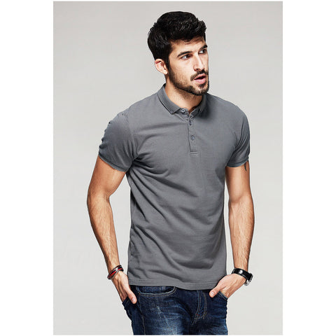 Classic Solid Gray Polo Tee - Haberfasher