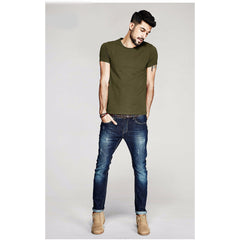 Army Green Basic Slim Fit Crew Neck T-Shirt - Haberfasher