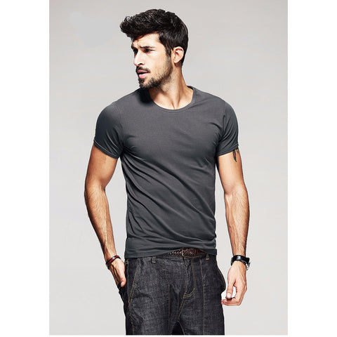 Gray Basic Slim Fit Crew Neck T-Shirt - Haberfasher