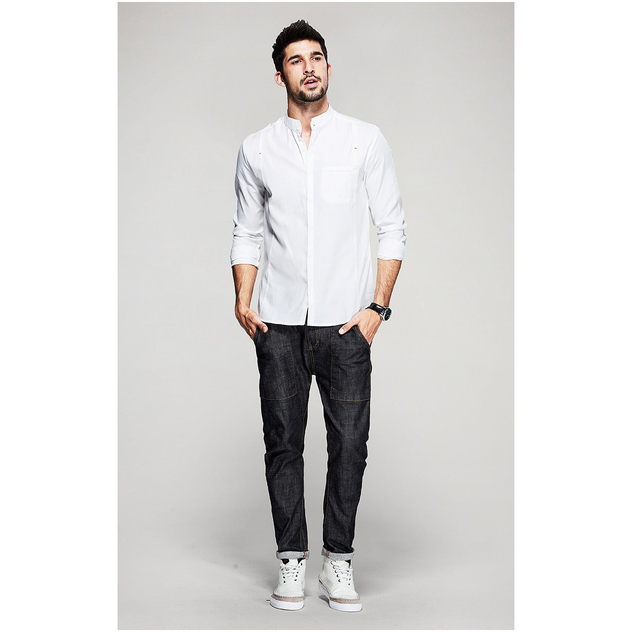 Neal Mandarin Collar White Shirt - Haberfasher