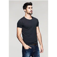 Dark Gray Basic Slim Fit Crew Neck T-Shirt - Haberfasher