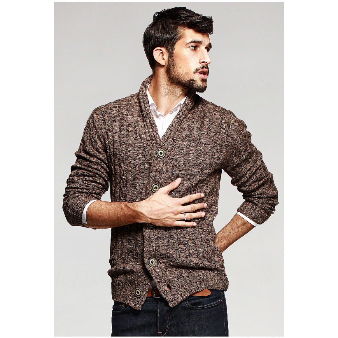 Russell Brown Knit Cardigan - Haberfasher