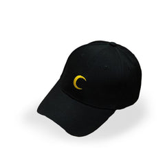 Black Embroidered Crescent Moon Cap - Haberfasher