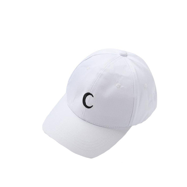 White Embroidered Crescent Moon Cap - Haberfasher