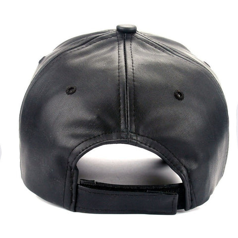 Black PU Leather Cap - Haberfasher