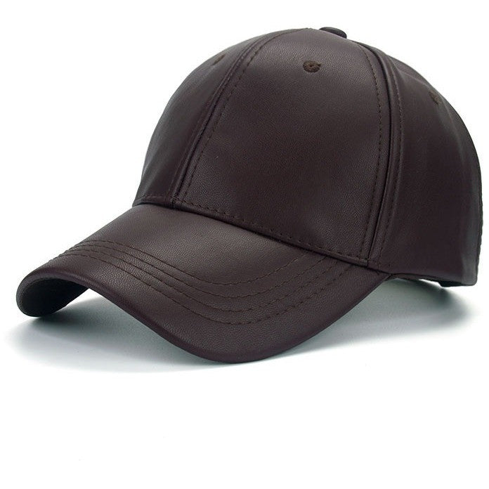 Khaki PU Leather Cap - Haberfasher