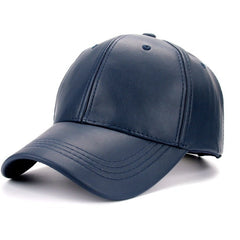 Sky Blue PU Leather Cap - Haberfasher