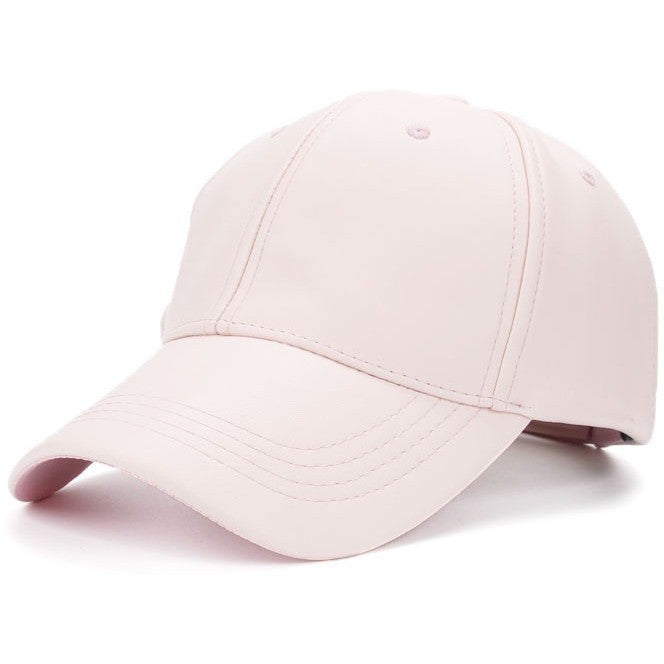 Pink PU Leather Cap - Haberfasher