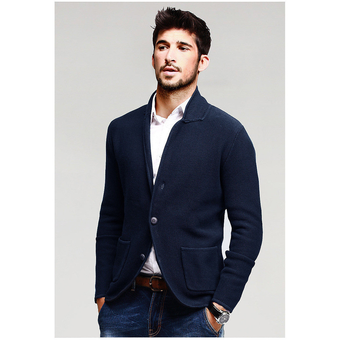 Des Blue Knitted Cardigan - Haberfasher