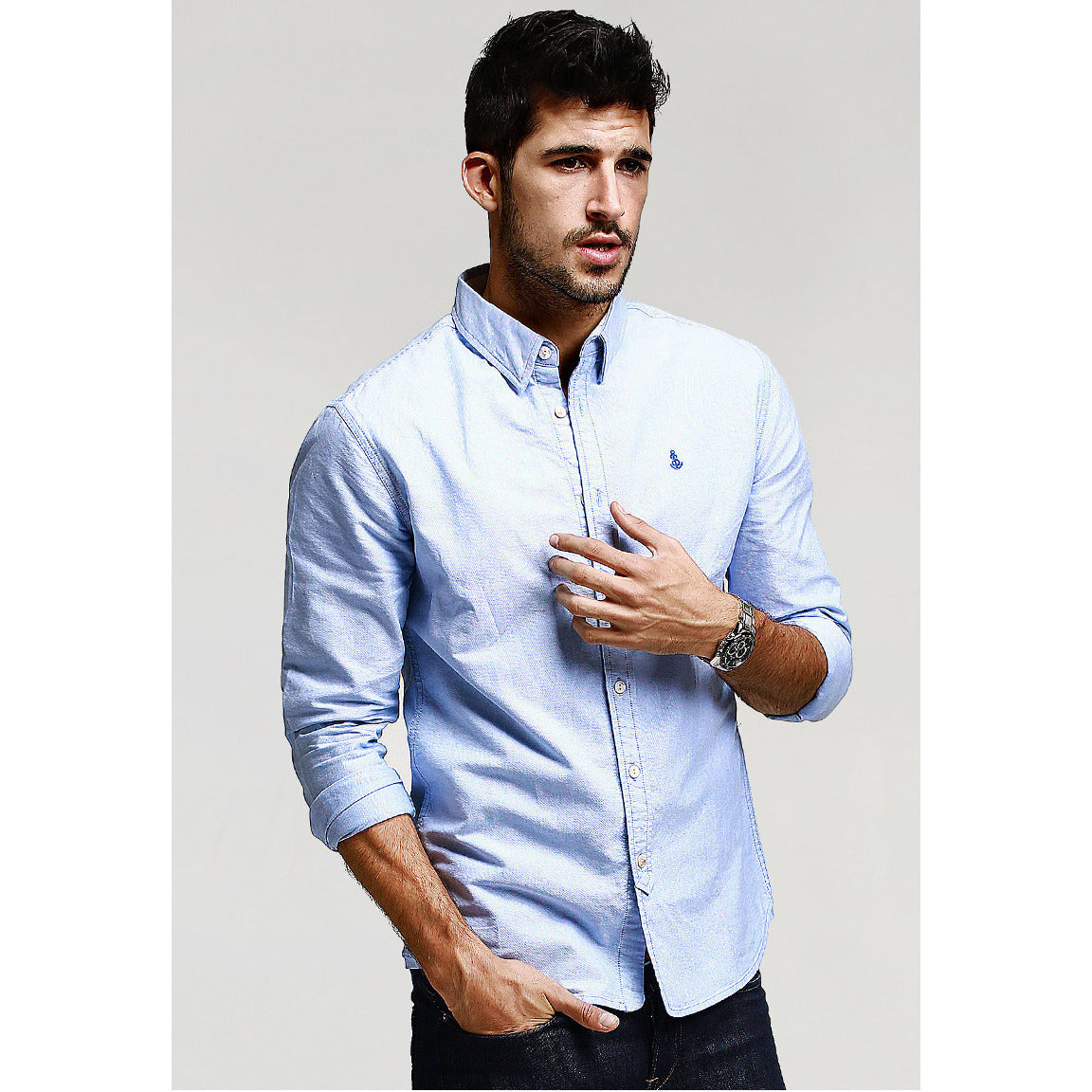Julian Long Sleeve Blue Shirt - Haberfasher
