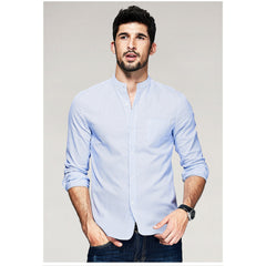 Aiden Striped Blue Mandarin Collar Shirt - Haberfasher