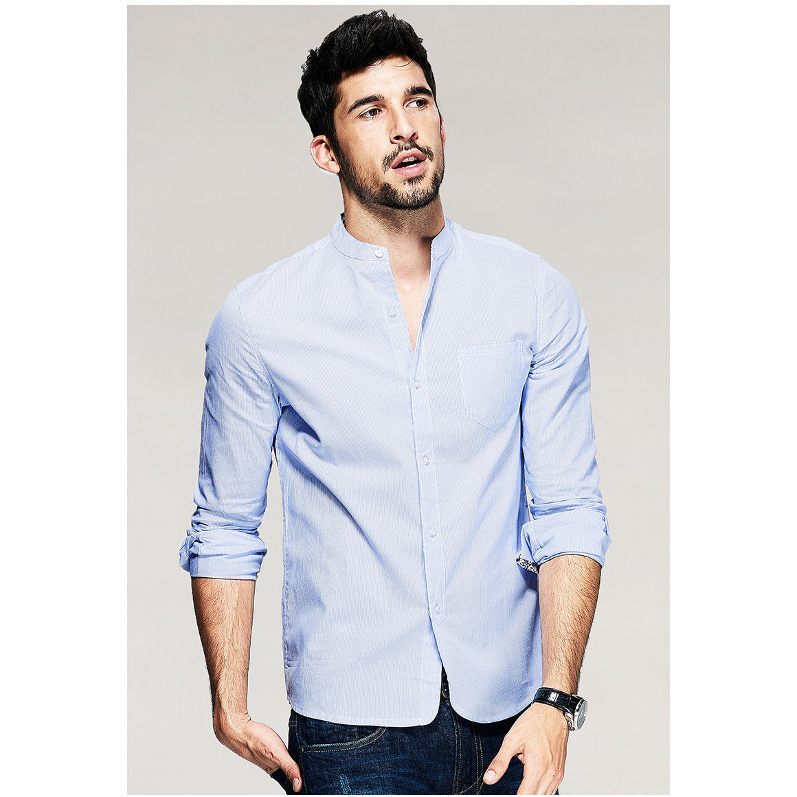 ad149073cb6 Aiden Striped Blue Mandarin Collar Shirt